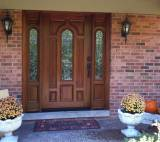 Entry Prehung Arched Glaze Single Wood Door with 2 Sidelights - Image 9