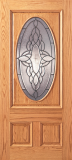 Wood Entry Doors - Entry Oval Glass 3 Panel Wood Door - Entry Oval Glass 3 Panel Wood Door
