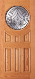 Wood Entry Doors - Entry Circular Glass 6 Panel Wood Door  - Entry Circular Glass 6 Panel Wood Door