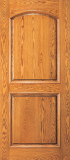 Wood Entry Doors - Entry 2 Panel Wood Door  - 2 Panel Arch Top Mahogany Wood Entry Door
