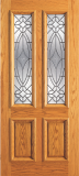 Wood Entry Doors - Entry 2 Panel Wood Door with 2 Lites  - Entry 2 Panel Wood Door with 2 Lites