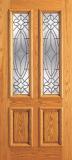 Wood Entry Doors - Entry 2 Panel Wood Door with 2 Lites  - Entry 2 Panel Wood Door with 2 Lites
