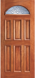 Wood Entry Doors - Entry Eye Brow 6 Panel Wood Door - Entry Eye Brow 6 Panel Wood Door