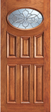 Wood Entry Doors - Entry 6 Panel Oval Glass Wood Door  - Entry Prehung 6 Panel Oval Glass Wood Door