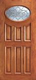 Entry Prehung 6 Panel Oval Glass Wood Door