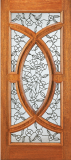 Wood Entry Doors - Entry Wood Door with Floral Design  - Entry Wood Door with Floral Design