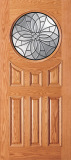 Wood Entry Doors - Entry Circular Glass 6 Panel Wood Door 2  - Entry Circular Glass 6 Panel Wood Door 2