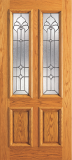 Wood Entry Doors - Entry 2 Panel Wood Door with 2 Lites 2 - Entry 2 Panel Wood Door with 2 Lites 2