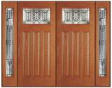 Textured Fir Grain - Entry Prehung Craftsman Fiberglass Door - Entry Prehung Craftman Fiberglass Wood Grain Double Door with 2 Sidelights