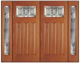 Textured Fir Grain - Entry Prehung Craftsman Fiberglass Door - Entry Prehung Craftman Fiberglass Wood Grain Double Door with 2 Sidelights