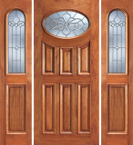 Wood Entry Doors - Entry 6 Panel Oval Glass Wood Door  - Entry Prehung 6 Panel Oval Glass Wood Door with 2 Sidelites