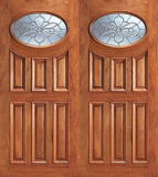 Wood Entry Doors - Entry 6 Panel Oval Glass Wood Door  - Entry 6 Panel Oval Glass Double Wood Door