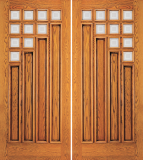 Wood Entry Doors - Entry 4 Panel Wood Door with 10 Mini Lites - Entry 4 Panel Wood Double Door with 10 Mini Lites