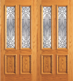 Wood Entry Doors - Entry 2 Panel Wood Door with 2 Lites  - Entry 2 Panel Wood Double Door with 2 Lites
