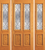 Wood Entry Doors - Entry 2 Panel Wood Door with 2 Lites  - Entry 2 Panel Wood Door with 2 Lites and 2 Sidelites