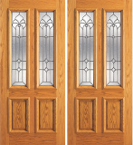 Wood Entry Doors - Entry 2 Panel Wood Door with 2 Lites 2 - Entry 2 Panel Wood Double Door with 2 Lites 2