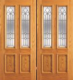 Entry 2 Panel Wood Double Door with 2 Lites 2