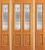 Wood Entry Doors - Entry 2 Panel Wood Door with 2 Lites 2 - Entry 2 Panel Wood Door with 2 Lites and 2 Sidelites 2