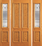 Entry 4 Plain Panel Wood Door with 2 Sidelites