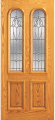 Doors - Wood Entry Doors - Entry 2 Panel Wood Door with 2 Rounded Lites