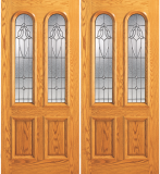 Wood Entry Doors - Entry 2 Panel Wood Door with 2 Rounded Lites - Entry 2 Panel Wood Double Door with 2 Rounded Lites