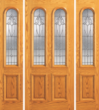 Entry 2 Panel Wood Door with 2 Rounded Lites and 2 Sidelites
