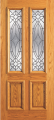 Doors - Wood Entry Doors - Entry 2 Panel Wood Door with 2 Lites