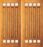 Wood Entry Doors - Entry 4 Panel Wood Door with 8 Mini Lites - Entry 4 Panel Wood Double Door with 8 Mini Lites