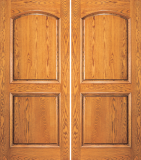 Wood Entry Doors - Entry 2 Panel Wood Door  - 2 Panel Arch Top Mahogany Wood Double Entry Door