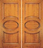 Wood Entry Doors - Entry 2 Panel Wood Door with Oval Design - Entry 2 Panel Wood Double Door with Oval Design