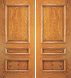 Wood Entry Doors - Entry 3 Panel Wood Door - Entry 3 Panel Wood Double Door
