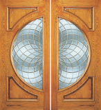 Wood Entry Doors - Entry 2 Panel Wood Door with Half Circle Lite - Entry 2 Panel Wood Double Door with Half Circle Lite