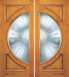 Wood Entry Doors - Entry 2 Panel Wood Door with Half Circle Lite 2 - Entry 2 Panel Wood Double Door with Half Circle Lite 2