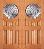 Wood Entry Doors - Entry Circular Glass 6 Panel Wood Door  - Entry Circular Glass 6 Panel Wood Double Door