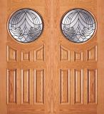 Entry Circular Glass 6 Panel Wood Double Door