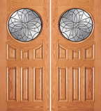 Wood Entry Doors - Entry Circular Glass 6 Panel Wood Door 2  - Entry Circular Glass 6 Panel Wood Double Door 2