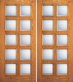 Wood Entry Doors - Entry Wood Door with 10 Lites  - Entry Wood Double Door with 10 Lites