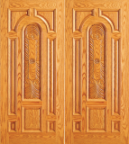 Wood Entry Doors - Entry Wood Door with Plain Panel - Entry Wood Double Door with Plain Panel