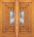 Entry 9 Panel Wood Double Door with 1 Lite