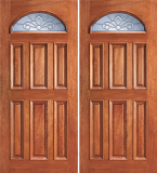 Wood Entry Doors - Entry Eye Brow 6 Panel Wood Door - Entry Eye Brow 6 Panel Wood Double Door