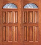 Entry Eye Brow 6 Panel Wood Double Door
