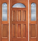 Entry Eye Brow 6 Panel Wood Door with 2 Sidelights