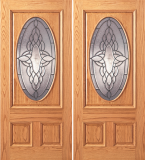 Entry Oval Glass 3 Panel Wood Double Door