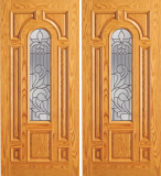 Wood Entry Doors - Entry Wood Door with Lite  - Entry Wood Double Door with Lite