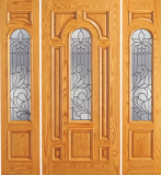 Wood Entry Doors - Entry Wood Door with Lite  - Entry Wood Door with Lite and 2 Sidelights