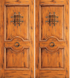 Wood Entry Doors - Western 2 Panel Wood Door with Speak Easy - Western 2 Panel Wood Double Door with Speak Easy