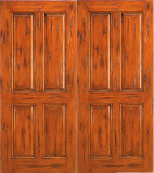 Wood Entry Doors - Western 4 Panel Wood Door - Western 4 Panel Wood Double Door