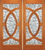 Entry Wood Double Door with Floral Design