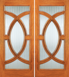 Entry Wood Double Door with Glass Design