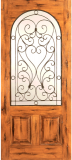 Wood Entry Doors - Western 2 Panel Wood Door with Round Lite - Western 2 Panel Wood Door with Round Lite